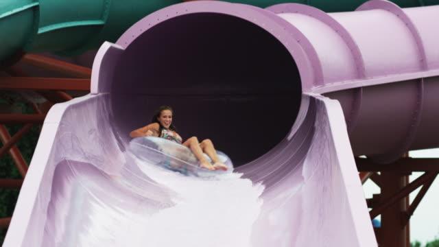 girl on a waterslide