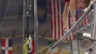 MS Girl (12-13) performing gymnastic / Lindon, Utah, USA.