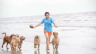 Girl Playing With Golden Retriever On The Beach