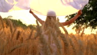 HD SUPER SLOW-MOTION: Girl Running Through Field With Sheet