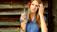 Girl smoking e-cigarette