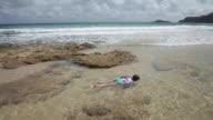 Girl snorkelling in sea