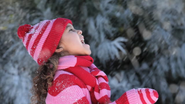 CU Girl (4-5) standing outside, catching snow on her tongue / Richmond, Virginia, USA