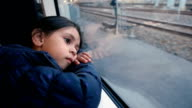 A girl Thinking On The Train