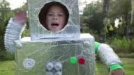CU Girl walking in robot costume.