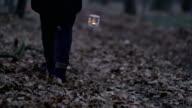 R/F meisje lopen door een mistige bos met lantaarn