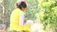 Girl writing on slate