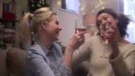 Girl-friends making a toast on the sofa,in the  livingroom at Christmas time.
