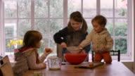Girls making cake on table