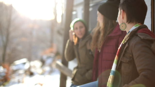 Girls outdoors on winter day