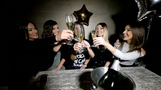 Girls toasting at a party