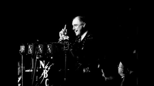 FDR gives campaign speech to cheering crowd on January 01 1932 in Boston Massachusetts