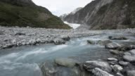 Glacial meltwater river flowing from Fox Glacier terminal face.