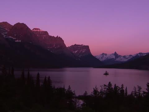 Glacier: Amethyst lake and mountain peaks at dusk