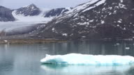 A glacier in northern Svalbard which is retreating rapidly. All of Svalbards glaciers are retreating, even in the north of the archiapelago despite only being around 600 miles from the North Pole.
