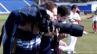 Glamorgan CCC preseason open day 15408 Cardiff SWALEC Stadium EXT Glamorgan cricket team on pitch Jamie Dalrymple chatting to David Hemp Various...