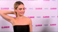 Winner's room More Lily James interview SOT so different from Downton Abbey character / 'Little Mix' group posing backstage with Glamour award /...