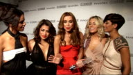 red carpet arrivals / winner's room The Saturdays interview SOT On winning the Band of the Year award / JLS saying Rochelle Wiseman was most...