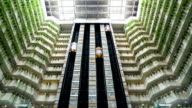 Glass elevator in lobby moving up and down,Timelapse