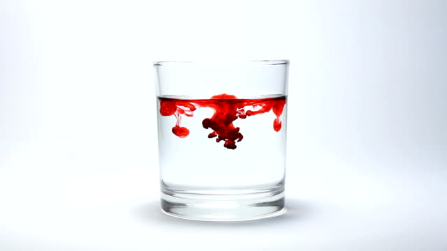 Glass of drop red blood