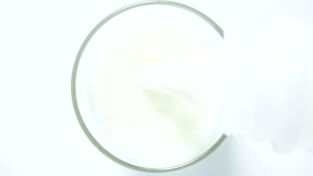 Glass of milk top view