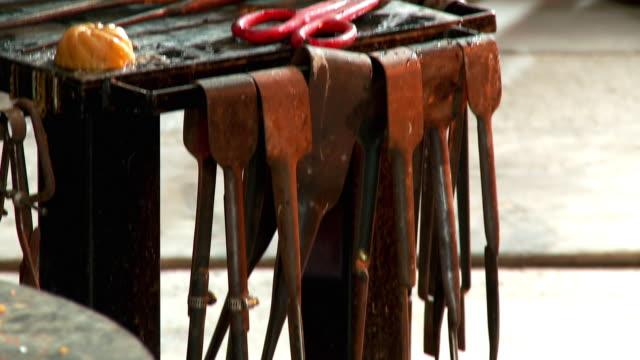 CU TU TD Glassblower's tools on work bench, Santa Barbara, California, USA