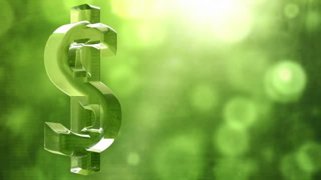 Glassy Dollar Symbol Spin Background Loop - Textured Green