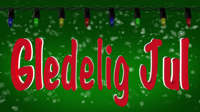 Gledelig Jul Norwegian greeting with Christmas lights and snow background