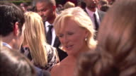 MCU Glenn Close taking to reporter on crowded red carpet at the Nokia Theater