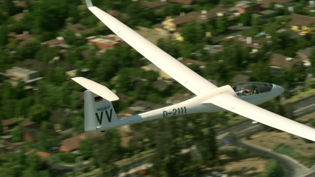 2010 AERIAL Glider flying over highway, suburbs and river / Santiago de Chile, Gran Santiago, Chile
