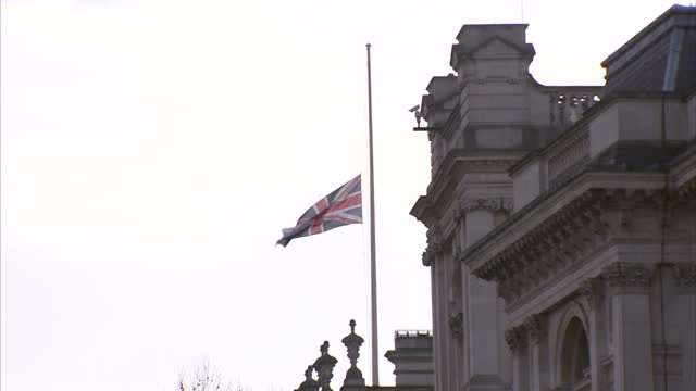 Global Support As Belgium Mourns Victims of Airport and Metro Attacks Showing Exterior shots Union flags flying at half mast over Government...