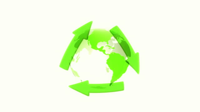 Globe with Recycling Symbol (White) - Loop