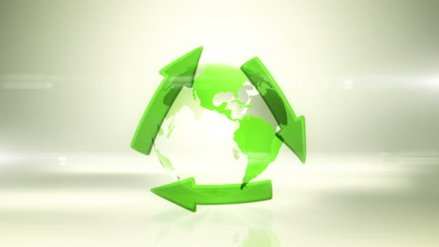 Globe with Recycling Symbol (Centered, Bright Background) - Loop