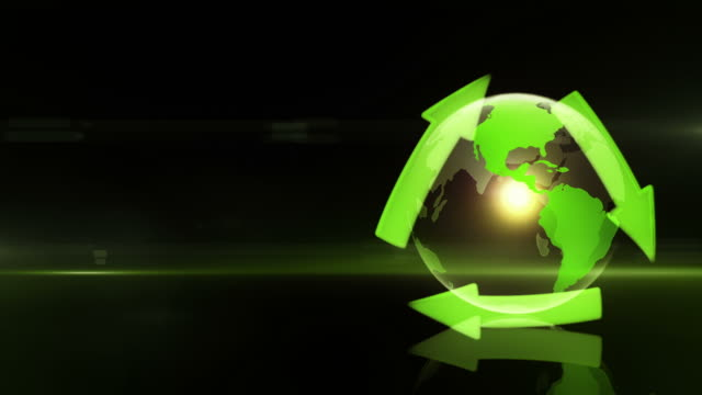 Globe with Recycling Symbol (Right Placed, Dark Background) - Loop