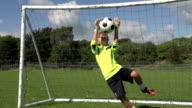 Goalkeeper making save, Boy's Soccer / Football Super Slow Motion