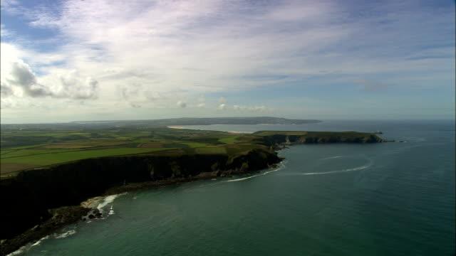 Godrevy Leuchtturm und St. Ives Bay-Luftaufnahme-England, Cornwall Vereinigtes Königreich