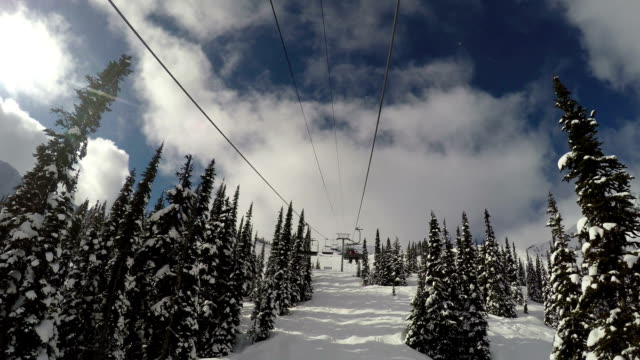 Going up a chairlift at a ski resort