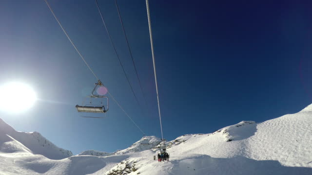 Going up an alpine chairlift at a ski resort