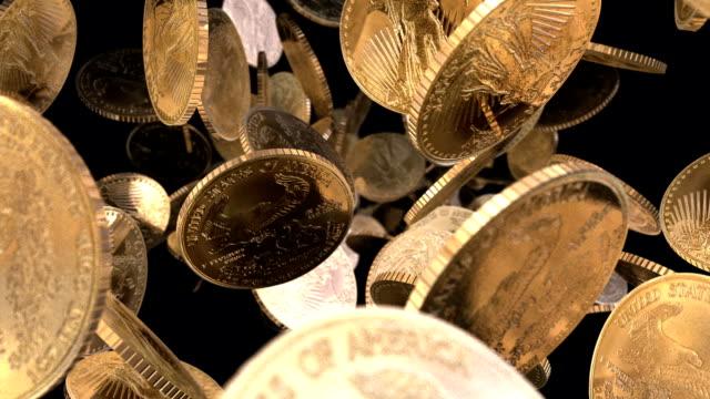 U.S.A. Gold Bullion Coins Tumbling Towards View