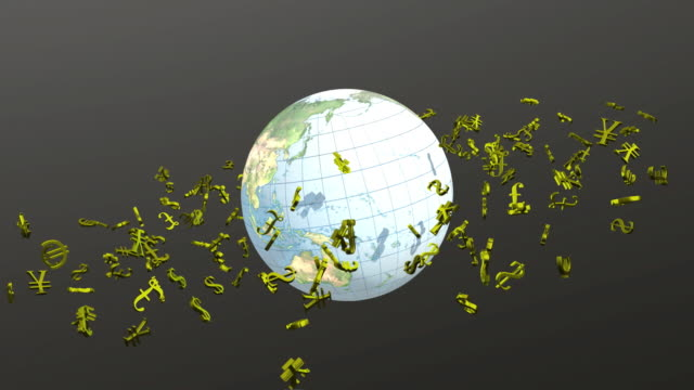 CGI Gold currency symbols orbiting around globe