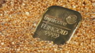 CU Gold ingots and pearl with text on it / Hanau, Hessen, Germany