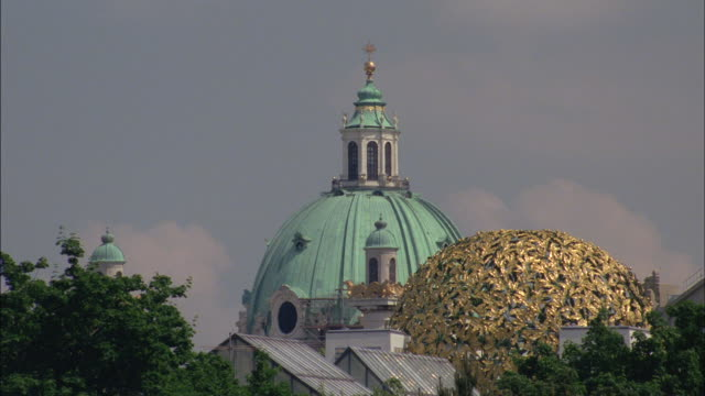 Gold leaf decorates the dome of a Vienna building.