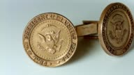 Gold President of the United States of America USA Cufflinks Memorobilia Authentic POTUS historical on white