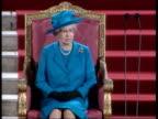 Queen addresses parliament POOL ENGLAND London Westminster Westminster Hall INT Trumpeters sounding fanfare for Queen Elizabeth II PAN Queen...