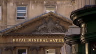 Golden lettering identifies Royal Mineral Water hospital in Bath. Available in HD.