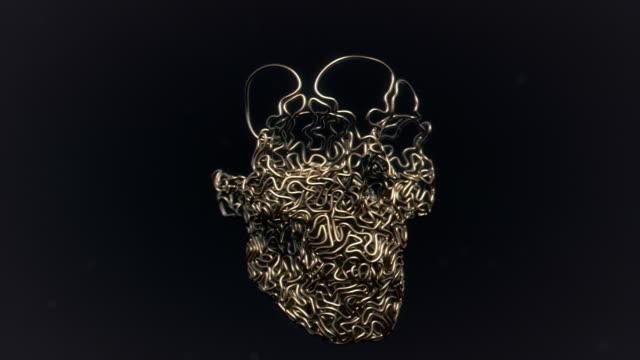 Golden lines skull growth on black background 3d rendering