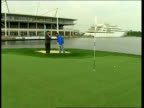 London River Thames Reporter LIVE 2WAY interview with Julian Hay on floating golf course on River Thames SOT we launched this event in 2003 / it's...