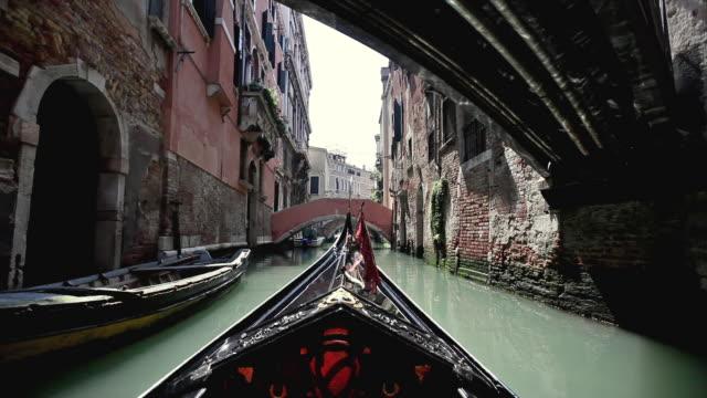 POV Gondola on canal in Cannaregio district, Venice, Veneto, Italy