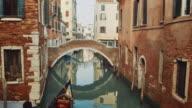 WS - Gondola passing under a typical venetian bridge