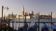 MS, Gondolas moored on Piazzetta San Marco, San Giorgio Maggiore church in background, Venice, Italy